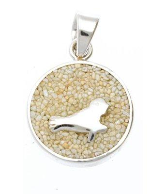 Zilveren Zeehond met strandzand kettinghanger