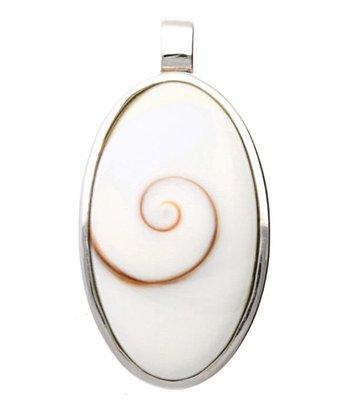 Zilveren Ovaal met oog van shiva kettinghanger