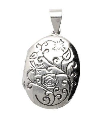 Zilveren Foto Medaillon Ovaal 2 foto's bloemmotief kettinghanger