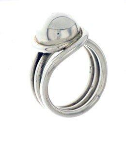 Zilveren draadring met kleine knop