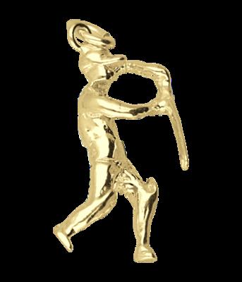 Gouden Cricket slagman ketting hanger