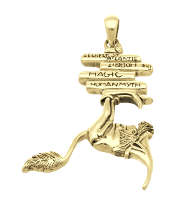 Gouden Boekenwurm kettinghanger