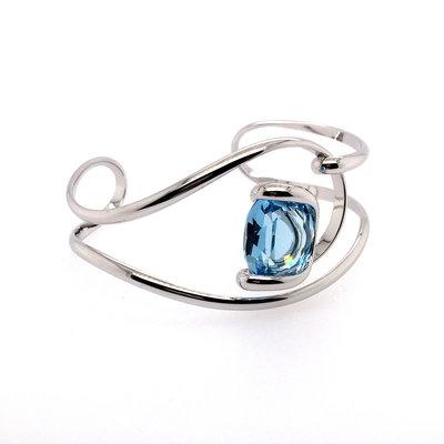 Klemarmband met blauw swarovski kristal 19 cm