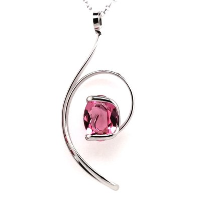 Ketting design groot met donker rosé swarovski kristal 45 cm