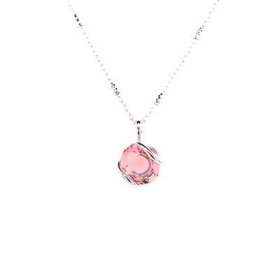 Ketting design middel met rosé swarovski kristal 40 cm
