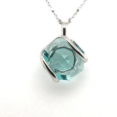 Ketting design middel met zeegroen swarovski kristal 45 cm