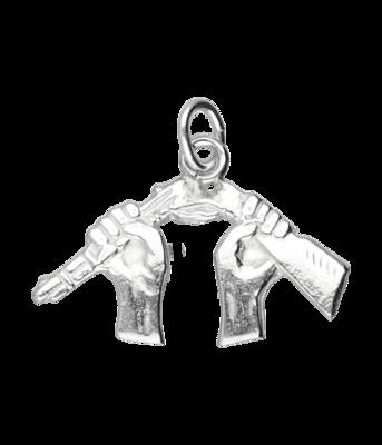 Zilveren Gebroken geweer kettinghanger
