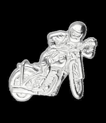 Zilveren Motor off the road met rijder kettinghanger