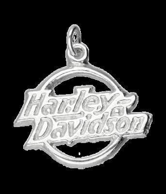 Zilveren Harley Davidson motorlogo in cirkel kettinghanger