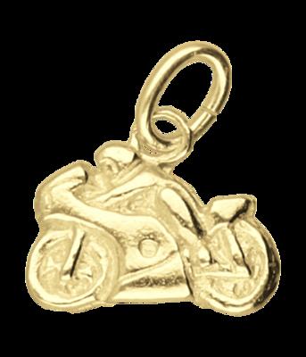 Gouden Motor racer vlak klein kettinghanger
