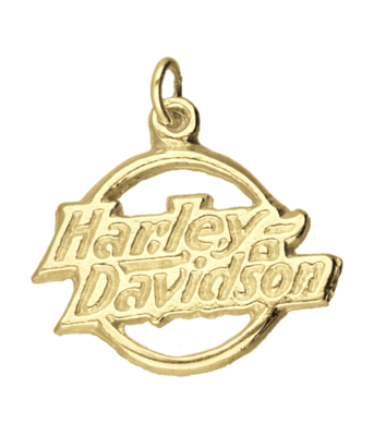 Gouden Harley Davidson motor logo in cirkel kettinghanger