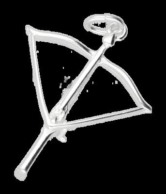 Zilveren Kruisboog ketting hanger