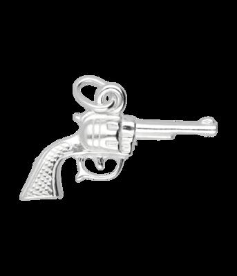 Zilveren Revolver middel ketting hanger