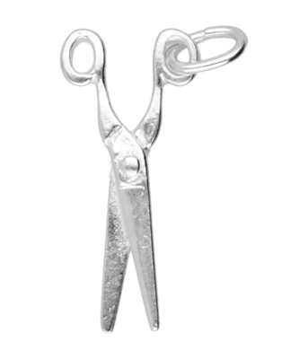 Zilveren Schaar ketting hanger - middel