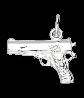 Zilveren Pistool ketting hanger