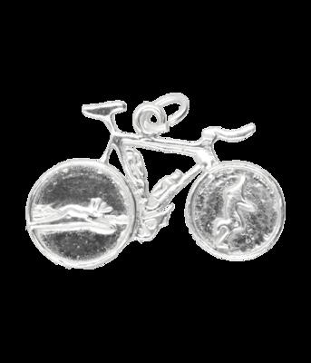 Zilveren Triathlon fiets ketting hanger