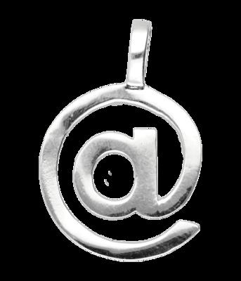 Zilveren @ At groot ketting hanger