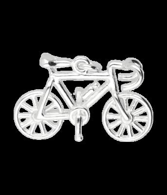 Zilveren Racefiets ketting hanger - met bidon