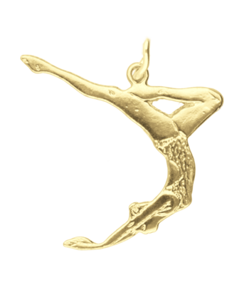 Gouden Kunstzwemster ketting hanger