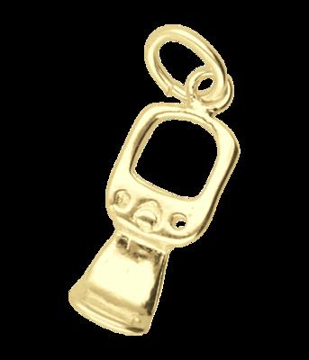 Gouden Blik lipje ketting hanger