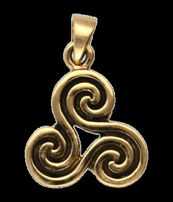 Triskel fijn bewerkt ketting hanger - brons