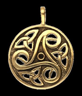 Triskel rond opengewerkt ketting hanger - brons