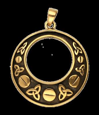 Triskel in rand open ketting hanger - brons