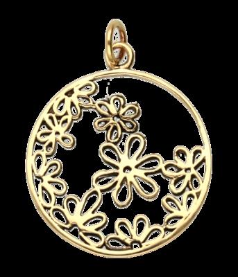 Bloemenring ketting hanger - brons