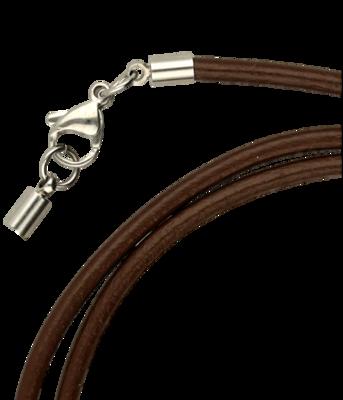 Leren bruine ketting - dikte 3,0 met rvs sluiting 50 cm en inkortbaar