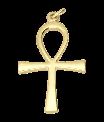 Gouden Ankh kruis XL ketting hanger