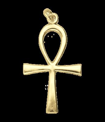 Gouden Ankh kruis groot ketting hanger
