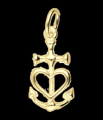 Gouden Geloof-Hoop-Liefde ketting hanger - vast