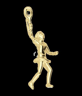Gouden Tennisspeelster ketting hanger