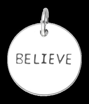 Zilveren Believe kettinghanger