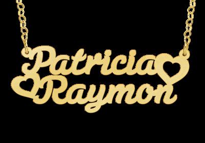 Gouden Naamketting lettertype Patricia - hart - Raymon