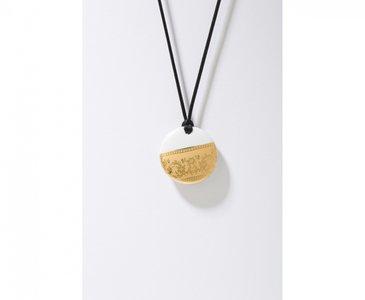 Ilse Collectie goud rond porseleinen ketting hanger