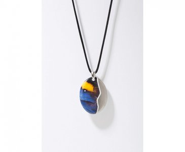 Vlinder Collectie blauw en platina ovaal porseleinen ketting hanger