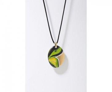 Vlinder Collectie groen en goud ovaal porseleinen ketting hanger