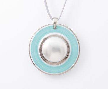 Maan Collectie turquoise en zilver rond porseleinen ketting hanger