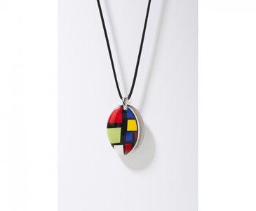 Kubus Collectie platina ovaal porseleinen ketting hanger