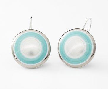 Maan Collectie turquoise en zilver rond porseleinen oorhangers