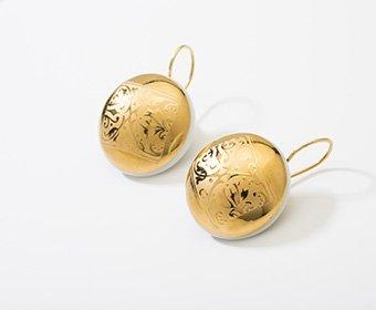 Pallas Collectie goud rond porseleinen oorhangers