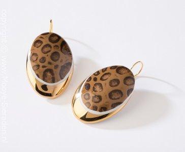 Kaaiman Collectie goud ovaal porseleinen oorhangers