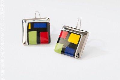Kubus Collectie platina vierkant porseleinen oorhangers