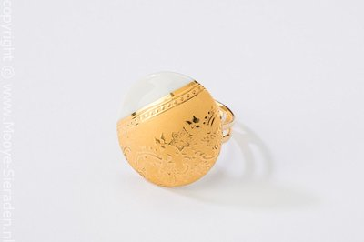Ilse Collectie goud rond porseleinen ring