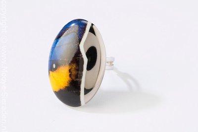 Vlinder Collectie blauw en platina ovaal porseleinen ring
