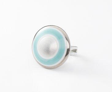 Maan Collectie turquoise en zilver rond porseleinen ring