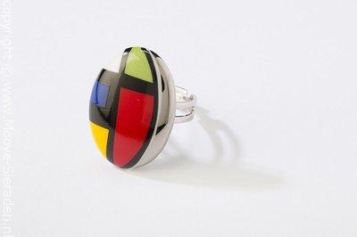 Kubus Collectie ovaal porseleinen ring