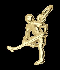 Gouden Hockeyspeler ketting hanger