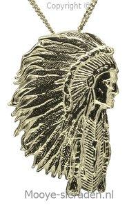 Gouden Indiaan met tooi groot ketting hanger